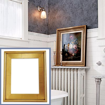 a gold-foil frame for a Victorian-style bathroom