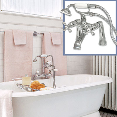 Edwardian-style tub filler for a Victorian-style bath tub