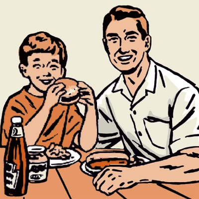 illustration of family meal on deck