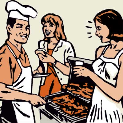 illustration of barbecue on deck
