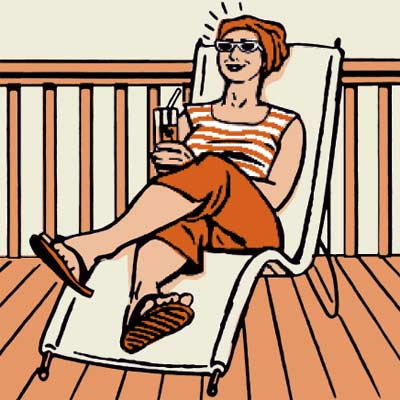 illustration of woman relaxing on deck
