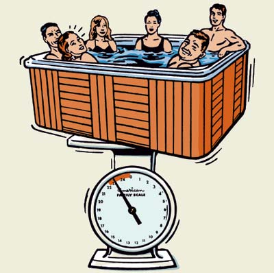 illustration of deck hot tub