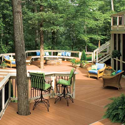 deck design for yards with trees