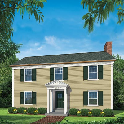Exterior of colonial home after photoshop redo