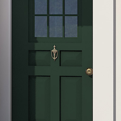 Exterior door hardware of colonial home after photoshop redo