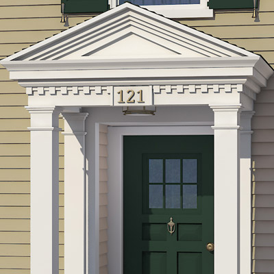 Brass house numbers of colonial home after photoshop redo