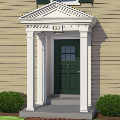 Exterior door and front columns of colonial home after photoshop redo