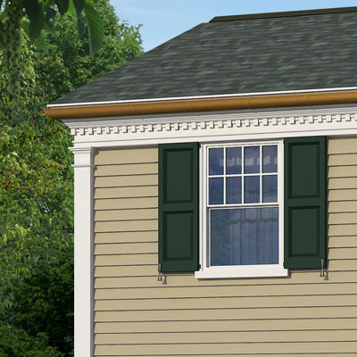 Exterior pilasters along the side of this colonial home after photoshop redo