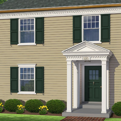 Window shutters decorate this colonial home after photoshop redo