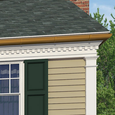 Copper gutters line this colonial home after photoshop redo