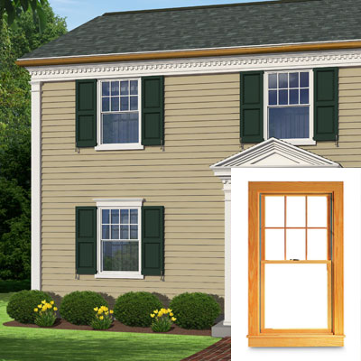 Double hung window treatment on this colonial home
