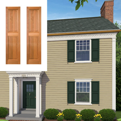 Raised-panel shutters surround the windows on this colonial home