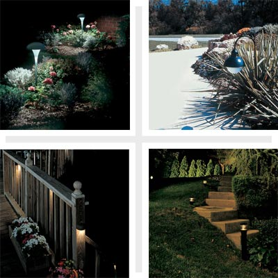 clockwise from top left: landscape lit up at night, outdoor lighting in daytime, walkway stairs lit up at night and lights along a deck's railing