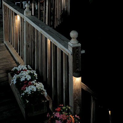 recessed lighting on a deck railing
