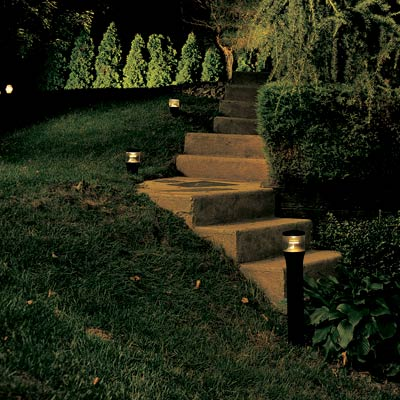 walkway stairs lit up at night