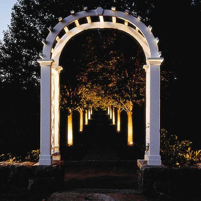 a tree-lined path with a pergola lit up at night