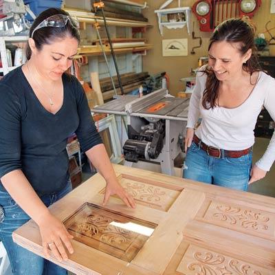 women making salvage furniture