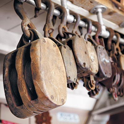 vintage block and tackle pulleys