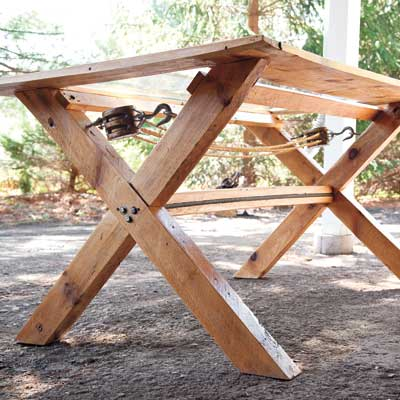 farm table built from salvaged materials