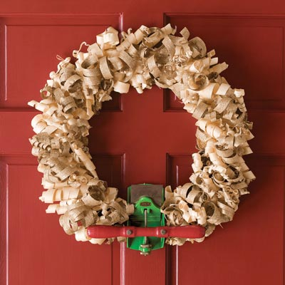 wreath made of wood shavings