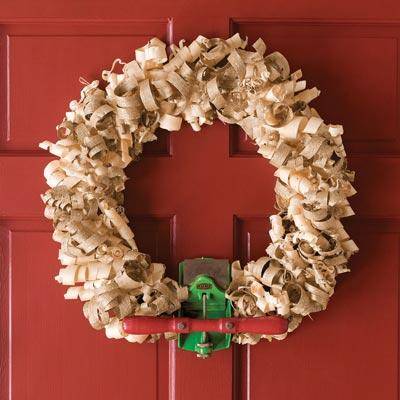 wreath made of wood shavings