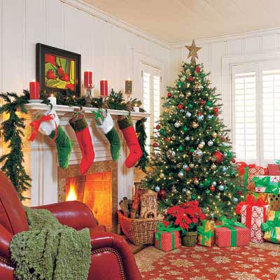 living room decorated at Christmas