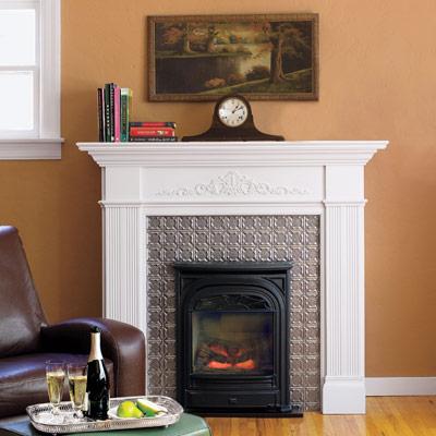 A tin-tile fireplace surround