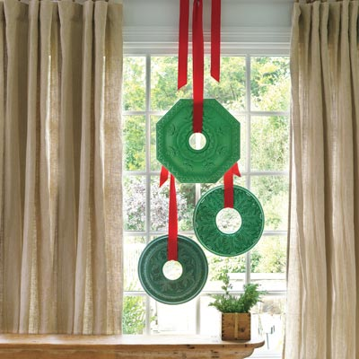 Hanging ceiling wreath medallions from the window