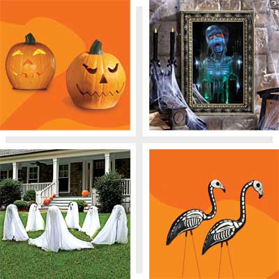 clockwise from top left: morphing jack-o'-lantern, haunted magic mirror, skeleton flamingos and ghosts for the front lawn