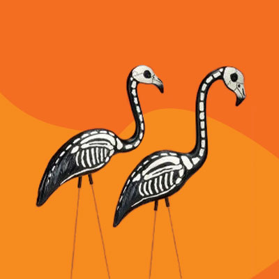 skeleton flamingos for the yard during Halloween