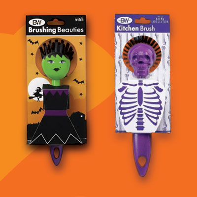 a witch and a skull kitchen brush for Halloween