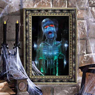 a trick mirror with a ghoulish image for Halloween decor