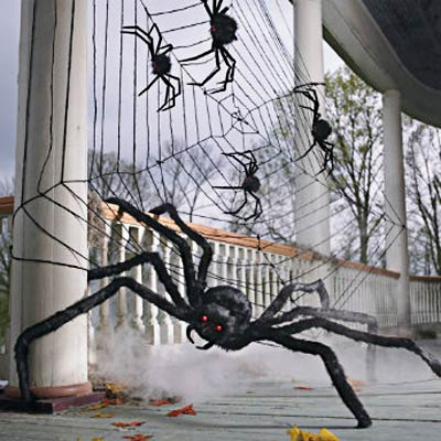 Oversized Spiders And Web Spooky Halloween Home Decor