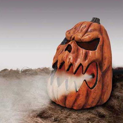 a jack-o'-lantern fog machine