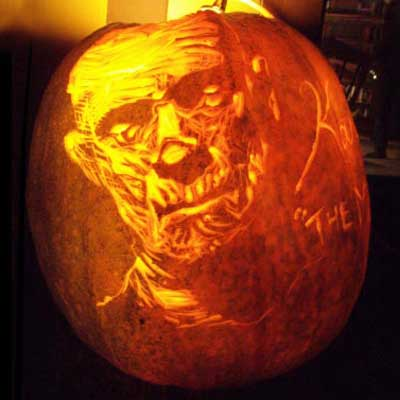 Boris Karloff as 'the Mummy' carved into a pumpkin