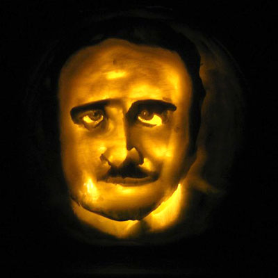Edgar Allen Poe carved into a pumpkin