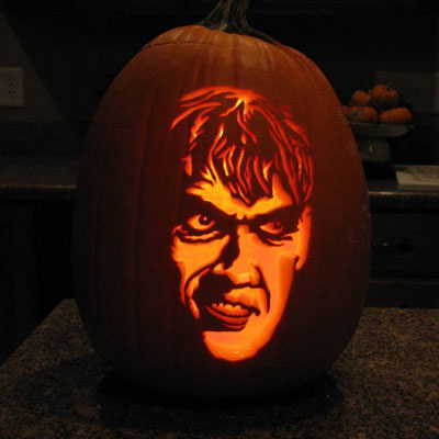 Lurch carved into a pumpkin