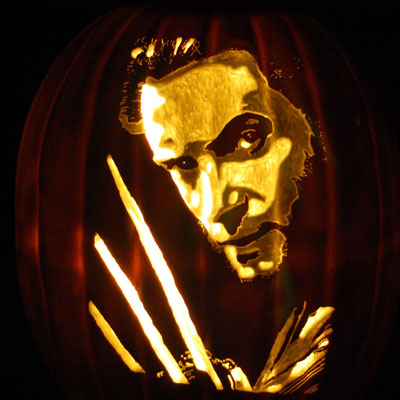 Hugh Jackman as Wolverine carved into a pumpkin