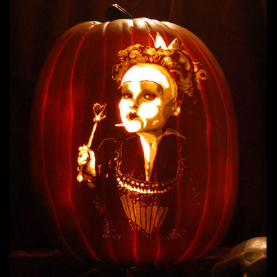 Helena Bonham Carter as the Queen of Hearts carved into a pumpkin