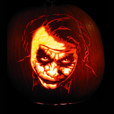 Heath Ledger as the Joker carved into a pumpkin