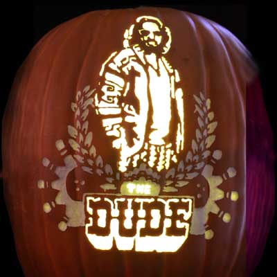 Jeff Bridges as the Dude carved into a pumpkin