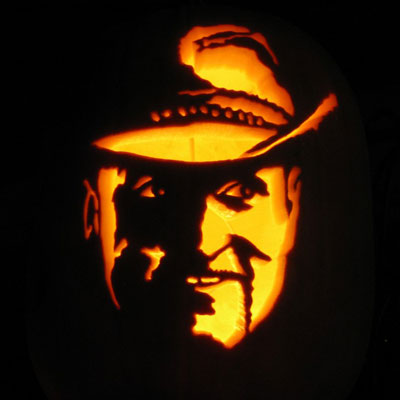 Tallahassee the Zombie from Zombieland carved into a pumpkin