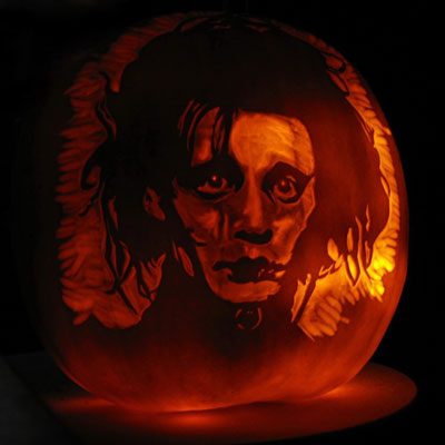 Edward Scissorhands carved into a pumpkin