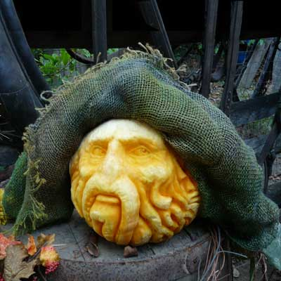 Davy Jones from Pirates of the Caribbean carved into a pumpkin