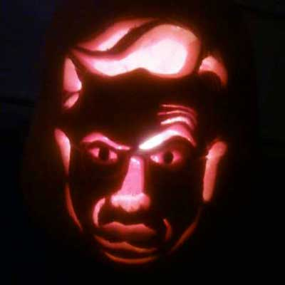 Stephen Colbert carved into a pumpkin