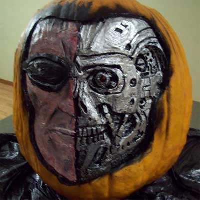 the Terminator carved into a pumpkin