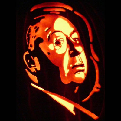 Alfred Hitchcock carved into a pumpkin