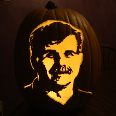 Tom Silva carved into a pumpkin