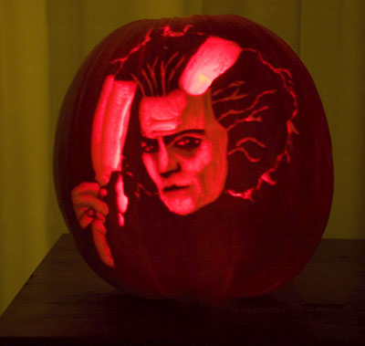 Johnny Depp as Sweeney Todd carved into a pumpkin