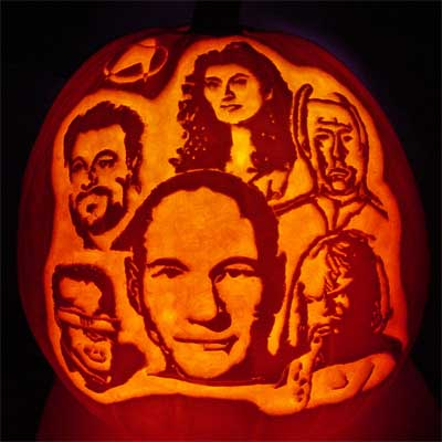 the Star Trek: Next Generation cast carved into a pumpkin